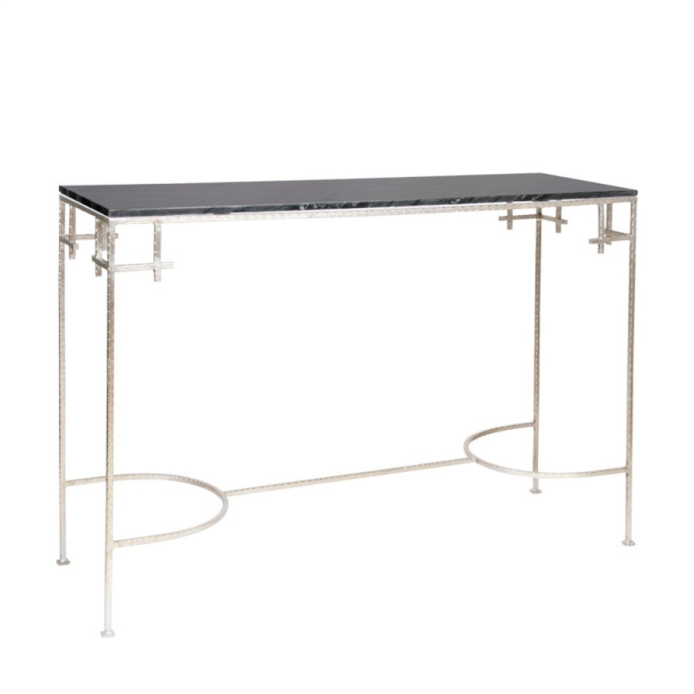 Hammered Silver Leaf Console With Black Marble Top.