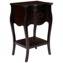 Crafted from mahogany veneer and wood products in a stylish and dramatic wood finish, this nightstand is perfect for stowing bedside essentials. This lovely nightstand showcases a single drawer with iron hardware, a scalloped apron and lower display shelf