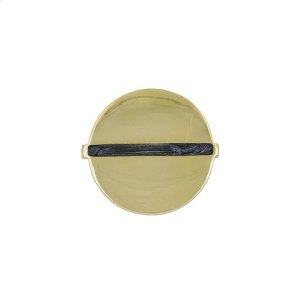 Large Brass Round Handle With Inset Resin In Charcoal Product Image