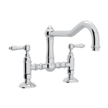 Polished Chrome Italian Kitchen Acqui Deck Mount Column Spout Bridge Kitchen Faucet with Metal Lever