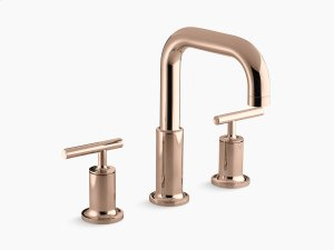 Vibrant Rose Gold Deck-mount Bath Faucet Trim for High-flow Valve With Lever Handles, Valve Not Included Product Image