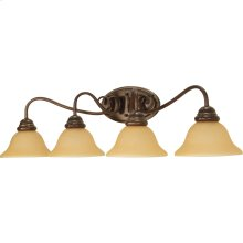 4-Light Wall Mounted Vanity Light Fixture in Sonoma Bronze with Champagne Glass