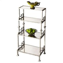 This simply elegant etagere offers just the right amount of display space to reflect its owner's exquisite taste. Perfect for a variety of spaces including a hallway or paired on either side of a large entryway, it features a light pewter finished cast me