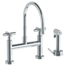 Deck Mounted Bridge Gooseneck Kitchen Faucet With Independent Side Spray