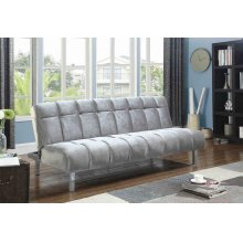 Contemporary Silver and Chrome Sofa Bed