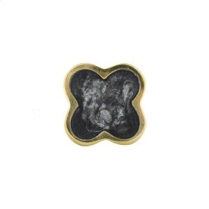 Flower Brass Knob With Inset Resin In Charcoal Product Image