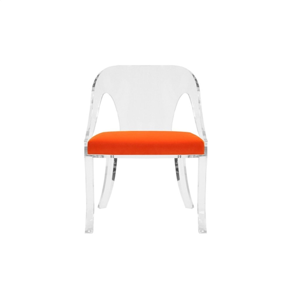 """Round Back Acrylic Chair With Orange Velvet Cushion Seat Height: 17.5"""""""