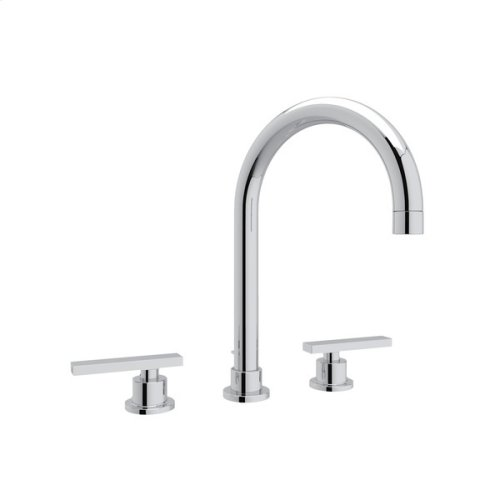 Polished Chrome Pirellone C-Spout Widespread Lavatory Faucet with Metal Lever