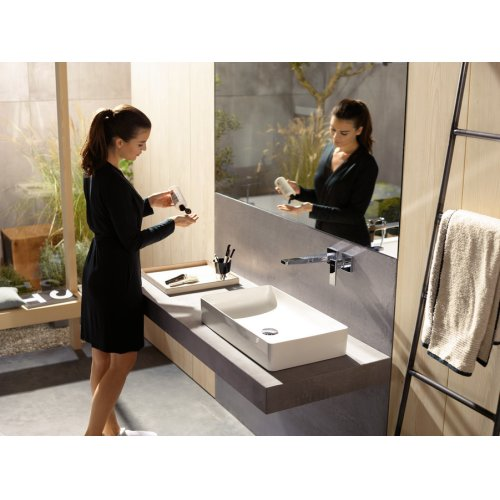 Chrome Wall-Mounted Single-Handle Faucet Trim with Lever Handle, 1.2 GPM