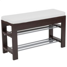 Espresso Wood Finish Storage Bench with Cushion
