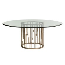 Rendezvous Round Metal Dining Table With Glass Top 60 Inch