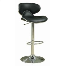 Contemporary Chrome and Black Adjustable Bar Stool
