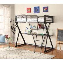 BLACK LOFT BED W/DESK & SHELF