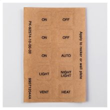 Function Labels for 2-, 3- and 4-function wall decorator controls. Easily applied peel-off labels cover HEAT/VENT/LIGHT/NIGHT-LIGHT ON/OFF/AUTO functions