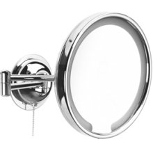 Chrome Plate UL approved double arm, magnifying (x5) LED mirror