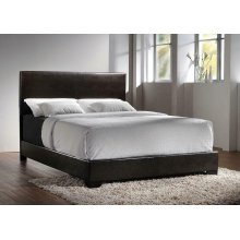 Conner Transitional Dark Brown Upholstered Queen Bed