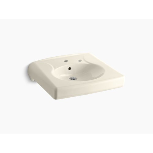 Almond Wall-mounted or Concealed Carrier Arm Mounted Commercial Bathroom Sink With Single Faucet Hole and Right-hand Soap Dispenser Hole
