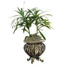 Made of cast stone set in a metal base. Suitable for displaying live plants. Product Image
