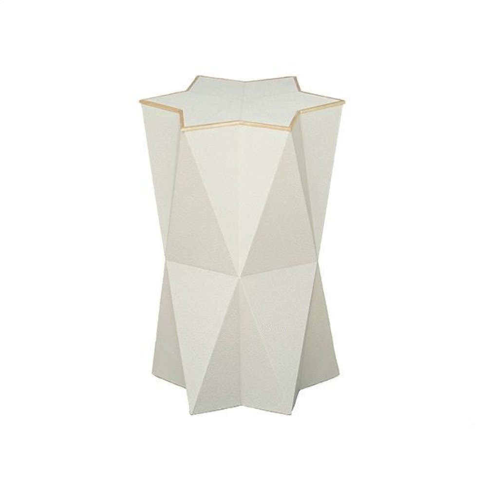 Tall Star Side Table In Cream Faux Shagreen