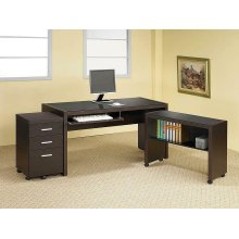 Skylar Contemporary Cappuccino Three-drawer Mobile File Cabinet