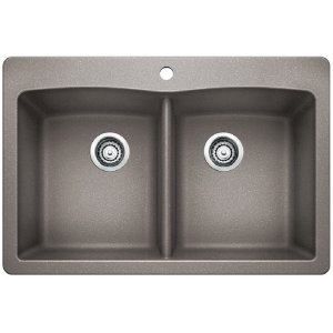 Blanco Diamond Equal Double Bowl With Ledge - Metallic Gray