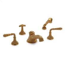Antique Gold Acanthus Lever Deck Mount Tub Set with Classical Hand Shower