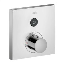 Chrome Thermostat for concealed installation square for 1 function