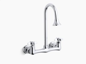 Polished Chrome Double Cross Handle Utility Sink Faucet With Rosespray Gooseneck Spout Product Image