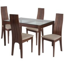 5 Piece Walnut Wood Dining Table Set with Glass Top and Padded Wood Dining Chairs