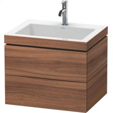 Furniture Washbasin C-bonded With Vanity Wall-mounted, Natural Walnut (decor)