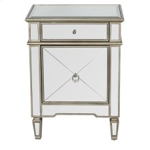 Mirrored Side Table With Painted Silver Edge and Crosshatch Detailing