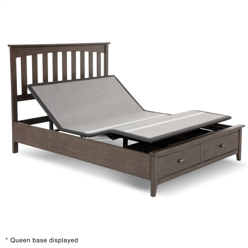 Sunrise 2 Slim-Profile Adjustable Bed Base for Platform Beds with Adjustable Legs, Charcoal Gray, Split King