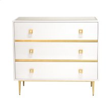 White Lacquer 3 Drawer Chest With Gold Leaf Hardware & Base Beveled Mirror Inset Top