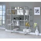 Contemporary Silver Metal and Glass Bookcase Product Image