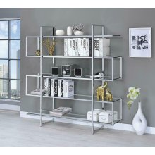 Contemporary Silver Metal and Glass Bookcase