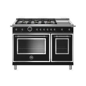 48 inch Dual Fuel Range, 6 Brass Burners and Griddle, Electric Self Clean Oven Matt Black Product Image