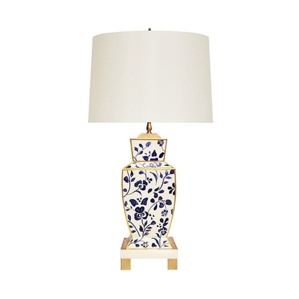 Hand Painted Urn Shape Tole Table Lamp In Navy Vine