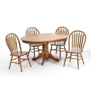 "Classic Oak Chestnut Laminate 42"" Pedestal Table"
