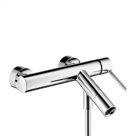 Polished Red Gold Single lever bath mixer for exposed installation with pin handle