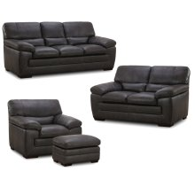 6983 FLEETWOOD: Leather Sofa in Stallion Dark Grey (MFG#: 6983-30-MG0A)