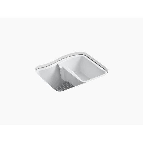 """White 25"""" X 22' X 14-15/16"""" Under-mount Utility Sink With 4 Faucet Holes - 3-holes On Deck On the Left and Right-hand Accessory Hole"""