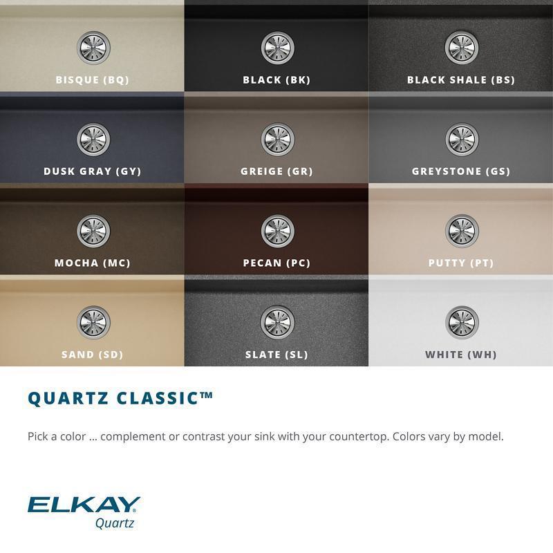 "Additional Elkay Quartz Classic 15-3/4"" x 15-3/4"" x 7-11/16"", Single Bowl Dual Mount Bar Sink, Black"