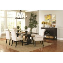 Parkins Traditional Rustic Espresso and White Seven-piece Dining Set