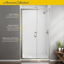 Semi-Frameless Swing Door and Panel 44-48 Inch  American Standard - Brushed Nickel