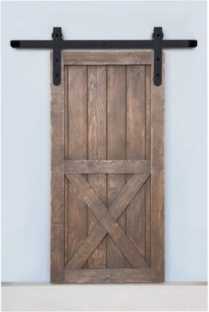 6' Barn Door Flat Track Hardware - Rough Iron Round End Carrier Style Product Image