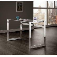 Contemporary Chrome and Glass Top Writing Desk