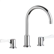 """Elkay 8"""" Centerset Concealed Deck Mount Faucet with Arc Spout and 4"""" Lever Handles Chrome"""