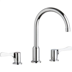 """Elkay 8"""" Centerset Concealed Deck Mount Faucet with Arc Spout and 4"""" Lever Handles Chrome Product Image"""