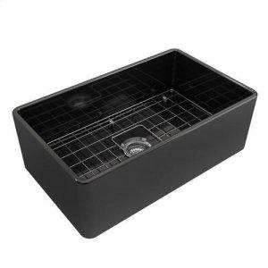Crisfield Single Bowl Fireclay Farmer Sink - Black Product Image