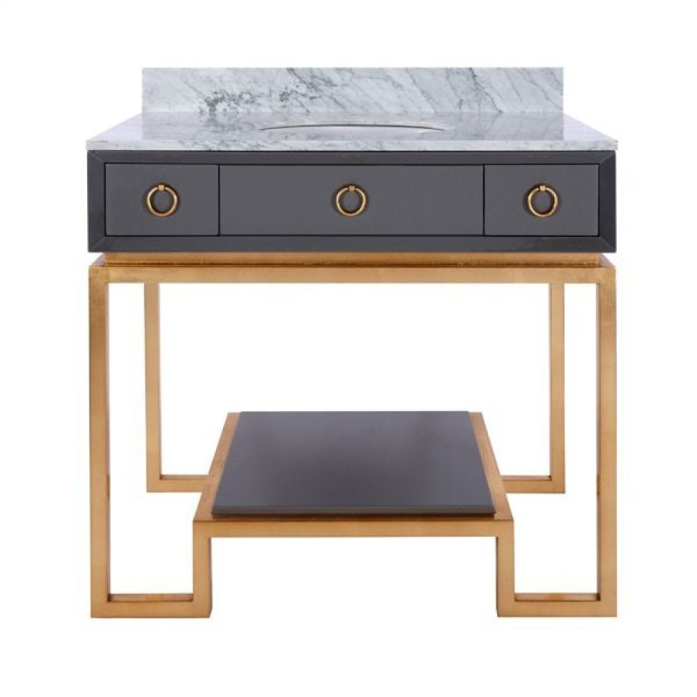 Dark Grey Lacquer Bath Vanity Paired With Gold Leaf Base & Hardware